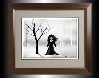 Dark Goth Girl Digital Art Painting - Winter Scene - Steampunk - Bird --  January
