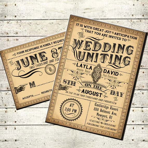 Printable DIY Victorian Steampunk Wedding Invitation Suite
