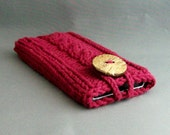 Apple iPhone Samsung Galaxy Mobile Cell Phone Case Burgandy Handknit Cotton Fabric with Coconut ButtonHandbag Accessory