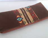 Aztec print & brown canvas sleek pencil case/eyeliner case purse organizer