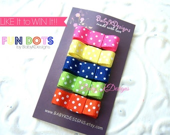 Polka DOTS Newborn Girl Hair Clips Mini Bow Snap Clips / Baby Girl Hairbow Clips / Tuxedo Bow No Slip Toddler Alligator Pinch clips