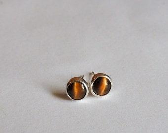 Tiger eye stud earrings, brown earrings