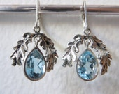 Blue Topaz and Sterling- The Oak Leaf Earrings