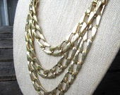 Streets of Gold Necklace - vintage 1980's triple strand large link gold chain necklace - Free Shipping to USA
