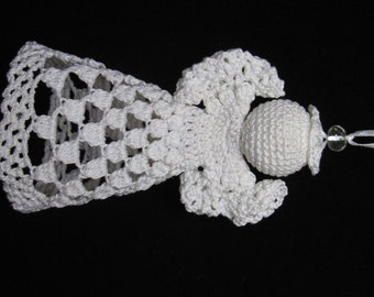 All metallic white hand crochet Christmas ornament decoration crochet angel