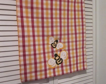 Vintage Tea Towel/ Dish Towel - Burgundy and Gold Bumblebees