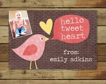Bird Valentine's Day Photo Card - hello tweet heart