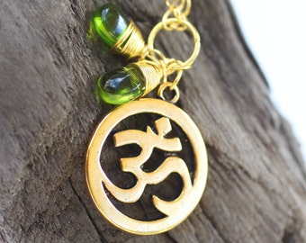 Om and Green Charm Necklace