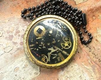 Pendant- Clockwork Black, Steampunk jewelry, Steampunk Necklace, Victorian jewelry,Gothic Watch Parts pendant, goth, Noir jewelry