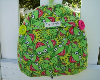 My Carrie Baby/Toddler Backpack made with Kermit the Frog Fabric