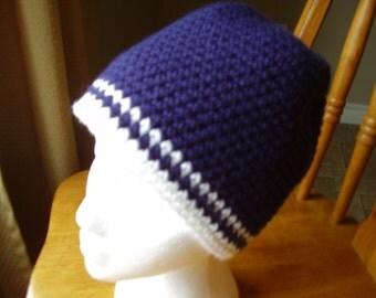 Crochet Bulky Weight Fall, Winter, Beanie/Hat, Navy Blue White Trim Teen/Adult
