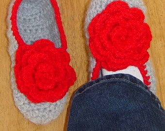 Women's Croctet Slippers with Rose