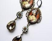 Mary Earrings - French Catholic - Opal and Topaz - Filigree Earrings - Relic earrings - Gift Earrings - Urban Gypsy - Gypsy Chic - Boho
