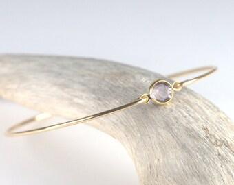 June Birthstone Light Amethyst Swarovski Gold Bangle Bracelet, Swarovski Light Amethyst Gold Bangle, Gold Bracelet, Birthstone [#773]