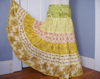 Yellow and Green Gathered Tiers Maxi Skirt Hippie Boho