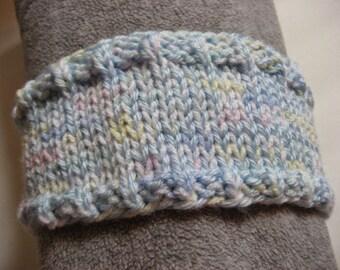 Hand Knit Headband, Pastel Pink Blue and White, Vegan Friendly Yarn, Dreadband Hairband Tube Hat Ear Warmer Dread Wrap Sweatband Dreadlock