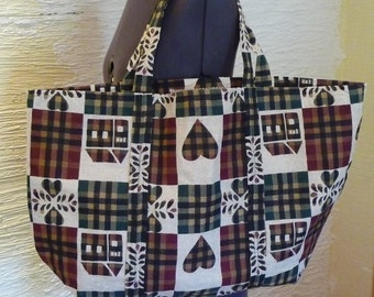 SALE, Handmade Tote Bag, Large Tote, Shopping Bag, Fall Colors, Hearts, Country Style, Open Top Bag,Handmade Bag,Handmade Purse,Shopping Bag