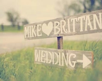 Rustic Wedding Signs Country Romantic Outdoor Weddings Hand Painted wedding Reception Decorations Vintage Wedding decor Road Signs Barn