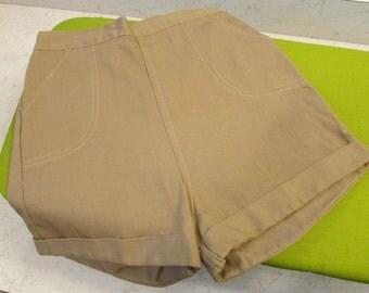Vintage High Waist Khaki Shorts with Elastic Waist