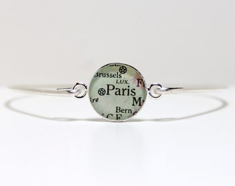 Personalized Vintage Map Bangle Bracelet, bridesmaid gift, gift for her, engagement gift, gift for women, gift for bride, gift for wife