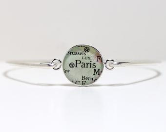 Personalized Vintage Map Bangle Bracelet