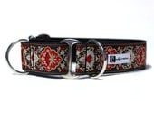 Wide 1 1/2 inch Adjustable Buckle or Martingale Dog Collar in Tapestry