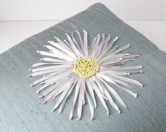 Chrysanthemum pillow, 12 x 12 silk pillow, ribbon embroidered pillow, decorative pillow, decorative cushion, silk ribbon embroidery