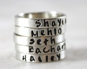 Custom Hand Stamped, Engraved Ring, Personalized Stacking Ring, Wife Gift, Personalized Ring, Name, Personalized Jewelry, Mom, Minimal Ring