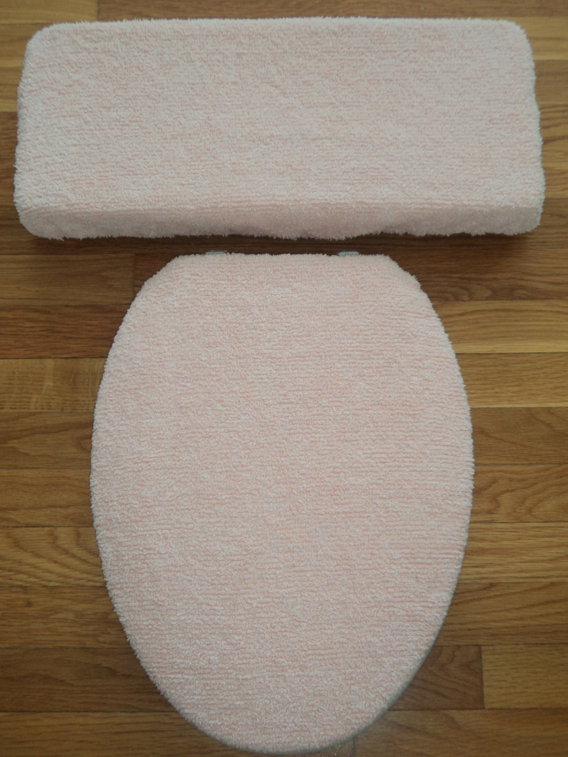 Vintage Peach Chenille Toilet Seat Cover Set By LoveVanillaRose