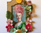 Marie Antoinette Mini Framed boutique magnet  Original Altered Art