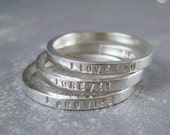 One hammered stacking ring in sterling silver with custom inscription - 2mm wide posey ring