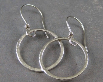 Silver hoop earrings, hammered silver hoops, handmade hoops, simple hoops, metal smith earrings, silver circle earring, artisan earrings