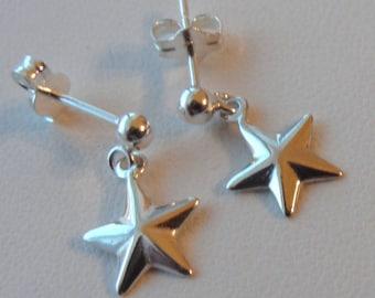Sterling Silver  Star Earrings, Flower Girl Earrings, Post Earrings, Stud Earring, Petite Earrings, Texas Star Earrings, Lone Star Earrings
