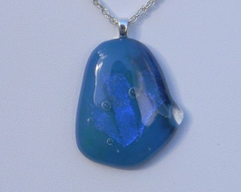 Raindrop Blue Glass Pendant