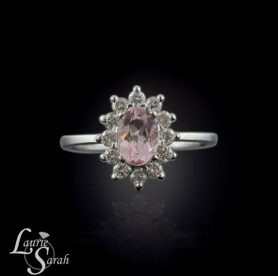 Morganite Engagement Ring, Diamond Halo Engagement Ring, Flower Engagement Ring, Morganite Flower Ring - LS359