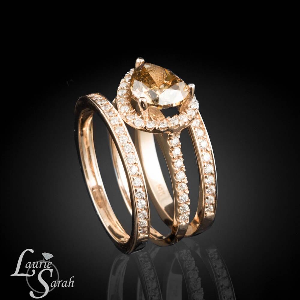 Colored Diamond Wedding Ring Sets: Rose Gold Ring 14k Rose Gold Horizontal Set Mocha Colored