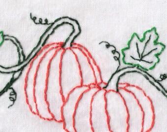 Pumpkin Hand Embroidery Pattern, Pumpkins on a Vine, Halloween, Autumn, Fall, PDF