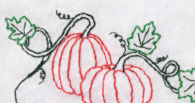 Pumpkin hand embroidery pattern pumpkins on a vine