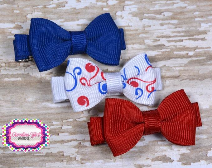 Patriotic Hair Bows Set of 3 Small Hairbows - Girls Hair Bows - Clippies - Baby Hair Bows - Hair Barettes - Mini Hair Bows