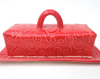 Red Textured Swirl Handmade Ceramic Covered Butter Dish with Lid