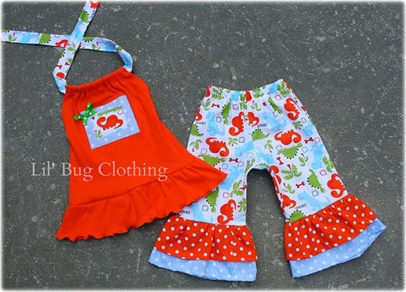 Custom Boutique Polka Dot Dinosaur Summer Capri and Orange Knit Halter Top