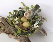 Bird Nest Garden Spring Decor Vintage Ceramic Bird with Eggs Robins Egg Blue Shells - SandisShellscapes