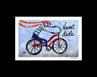 Sweet Ride - Art Print, signed & matted, fun, quirky, outsider art, bicycle, naive, kitsch art, illustration  print by Murphy Adams