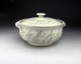 2 Quart Handmade Ceramic Casserole Dish and Lid with  Fern Design- Made to Order in Your Choice of Color.