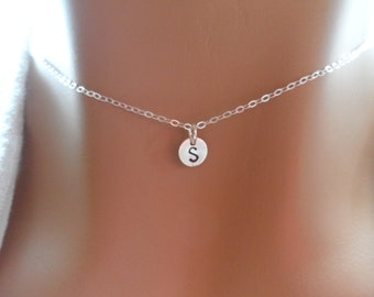 SALE Tiny Sterling Silver Initial Necklace - Hand Stamp Jewelry, Alphabet Charm, Customized Necklace
