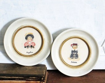 Angelica Ichabod Art Round Frames Vintage Set Drawings of Boy Girl Male Female