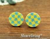 Buy 1 Get 1 Free - Flower Wood Cabochon, Wooden Button,12mm 15mm 20mm  Round Handmade Photo Wood Cut Cabochon   -- HWC015G