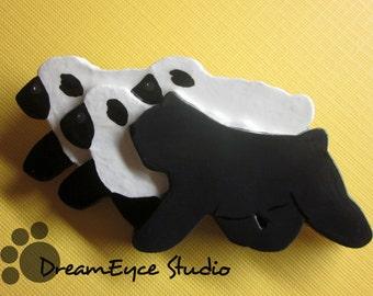 Bouvier des Flandres Herding Sheep Brooch. Artist Hand-made Dog Art Jewelry Pin. C5