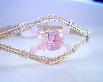 Pink Rose CZ Gemstone and Sterling Silver Filled Wire Wrapped Bracelet