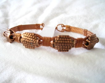 "Copper Beaded and Copper Wire Wrapped Handmade Bracelet 7-1/2""  to 8"""